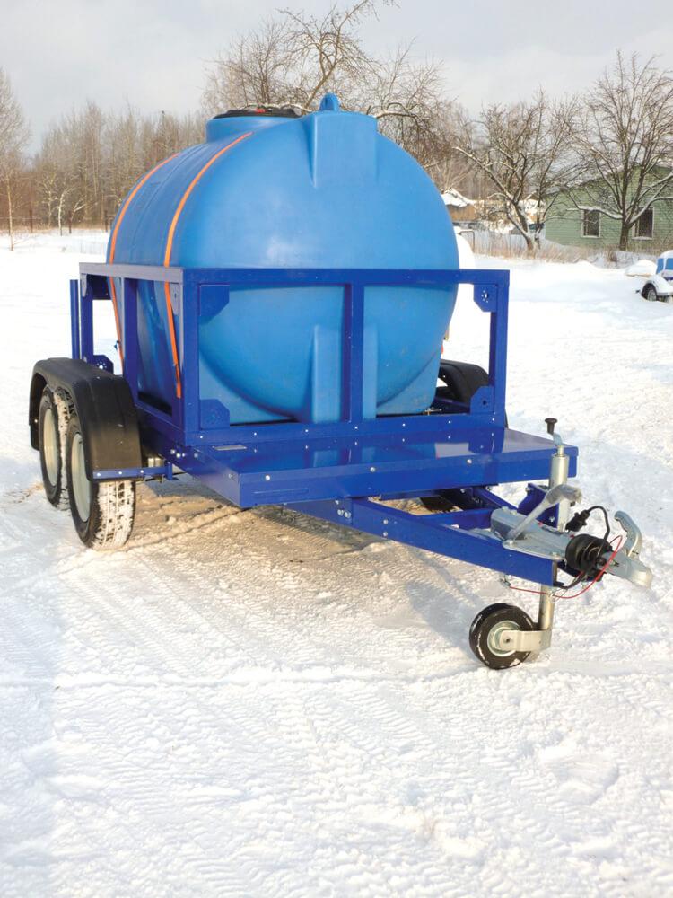 Полиэтиленовая емкость на 1000 л , МН 1000 ВФК, перевозка питьевой воды на автоприцепе