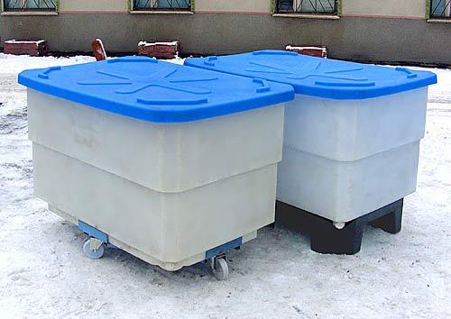 Пластиковый контейнер 500 л для пищевых продуктов на тележке с полиамидными колесами (КЛ500СПТ) 1