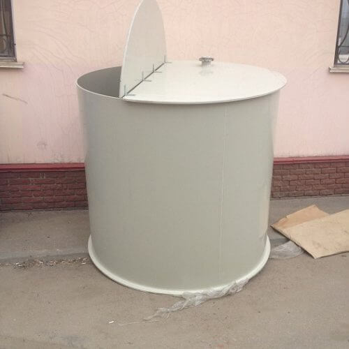 Емкость цилиндрическая из ПП для питьевой воды с крышкой на петлях