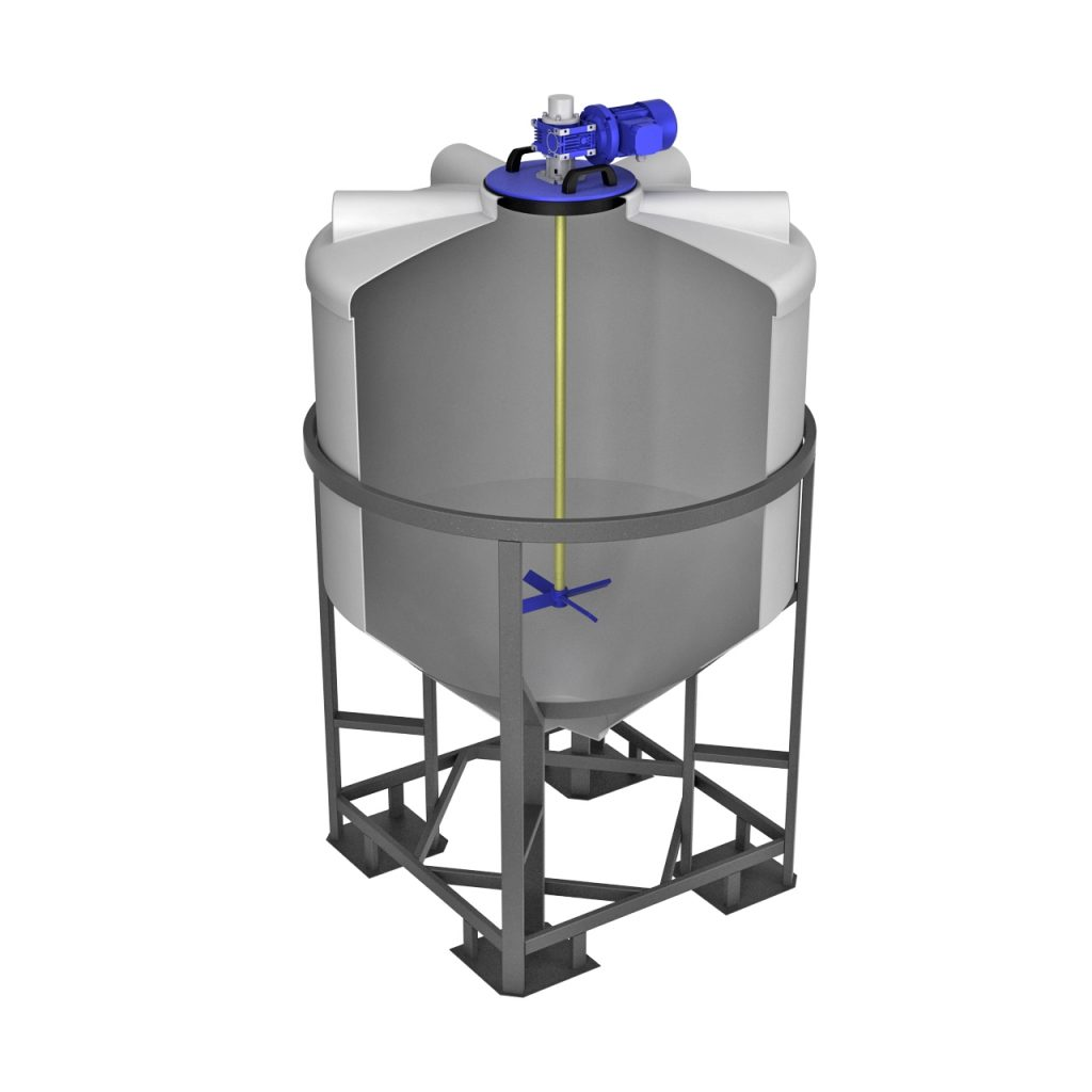 Емкость ФМ 1000 литров в обрешетке с лопастной мешалкой 1