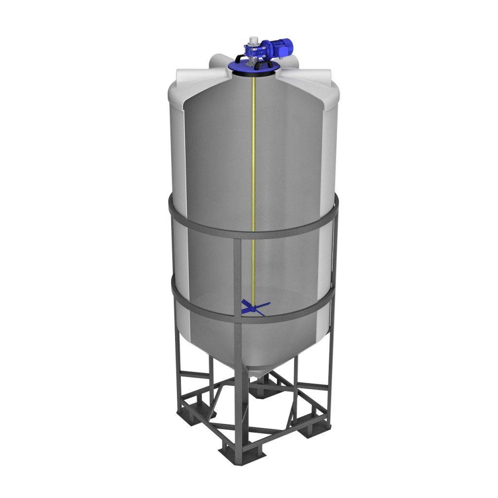 Емкость ФМ 2000 литров в обрешетке с лопастной мешалкой 1
