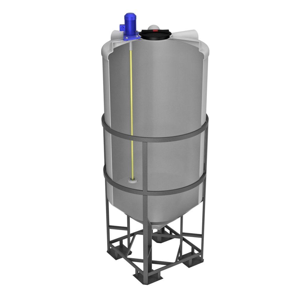 Емкость ФМ 2000 литров в обрешетке с турбинной мешалкой 1