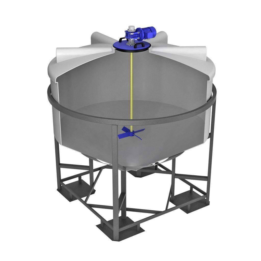 Емкость ФМ 3000 литров в обрешетке с лопастной мешалкой 1