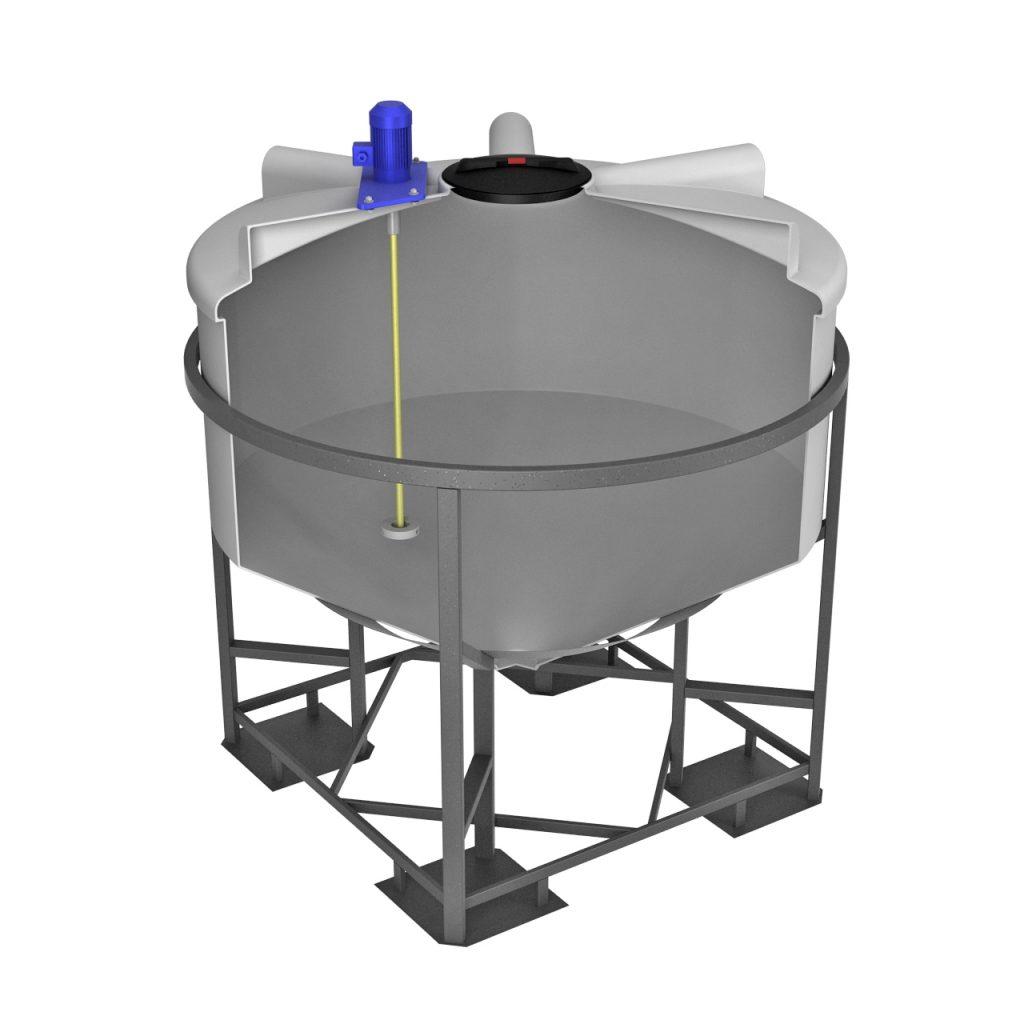 Емкость ФМ 3000 литров в обрешетке с турбинной мешалкой 1